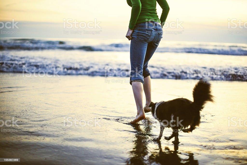 Dog and Woman At Oregon Coast stock photo