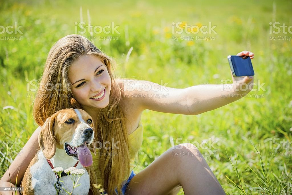Dog and woman - happy memories royalty-free stock photo