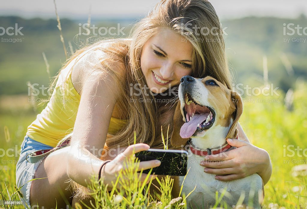 Dog and woman - happy memories stock photo