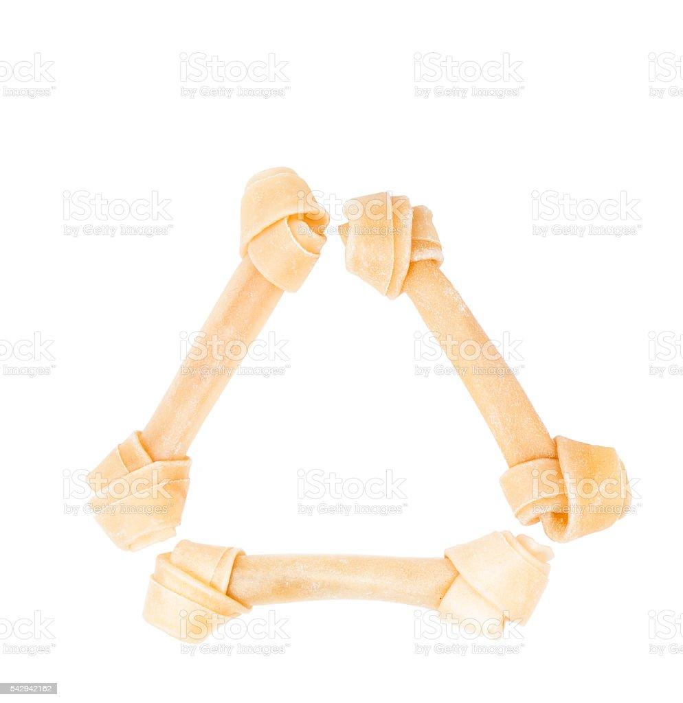 dog bone rawhide isolated on white stock photo