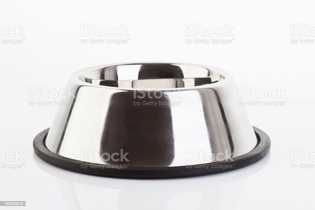 Dog bowl on white background stock photo