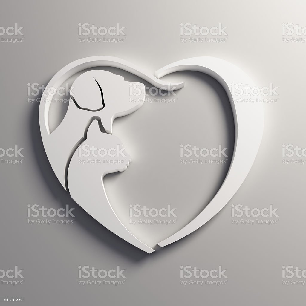 Dog Cat Lover Heart. 3D Render Illustration stock photo