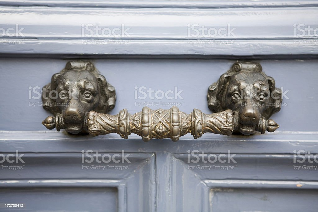 Dog door handle royalty-free stock photo