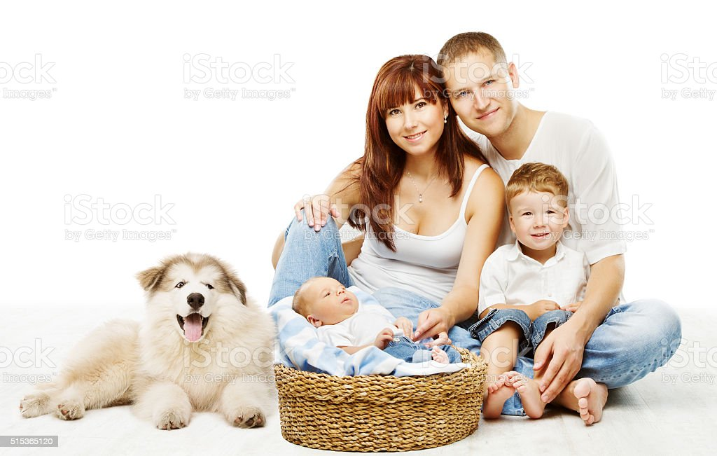 Dog Family over White, Children Father Mother and Fluffy Pet stock photo