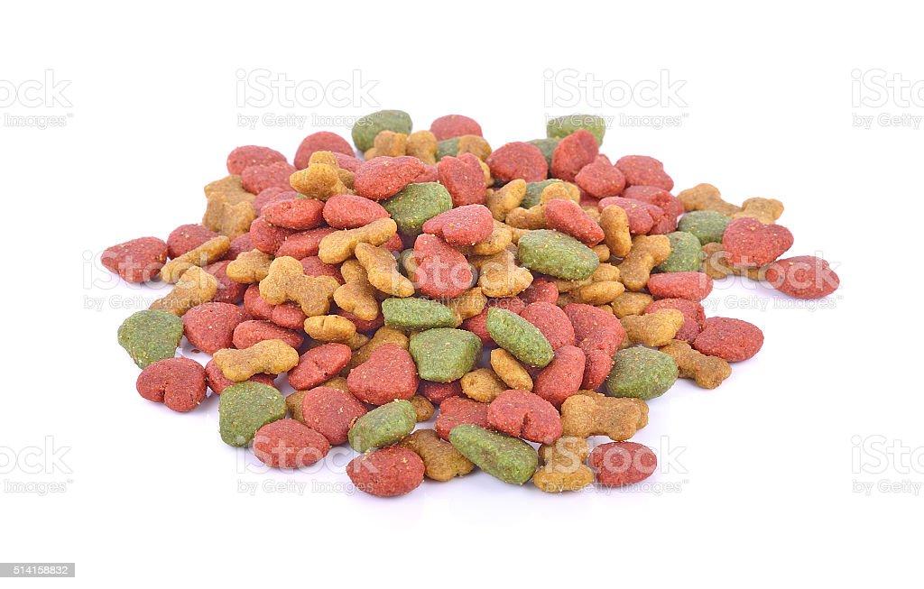 Dog food on white background stock photo