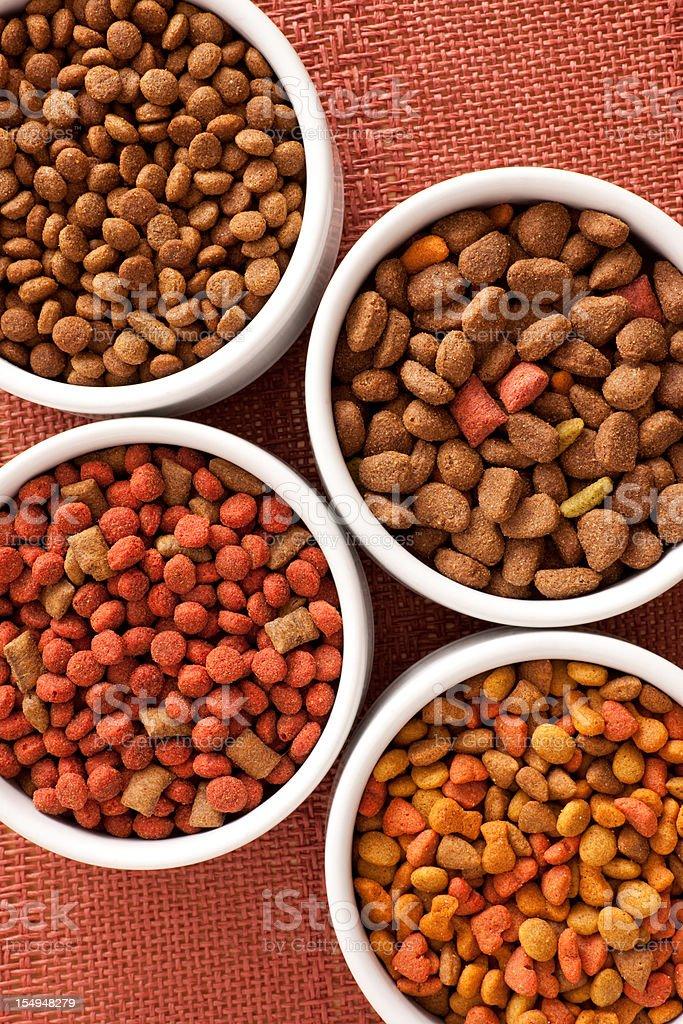 Dog food varieties stock photo