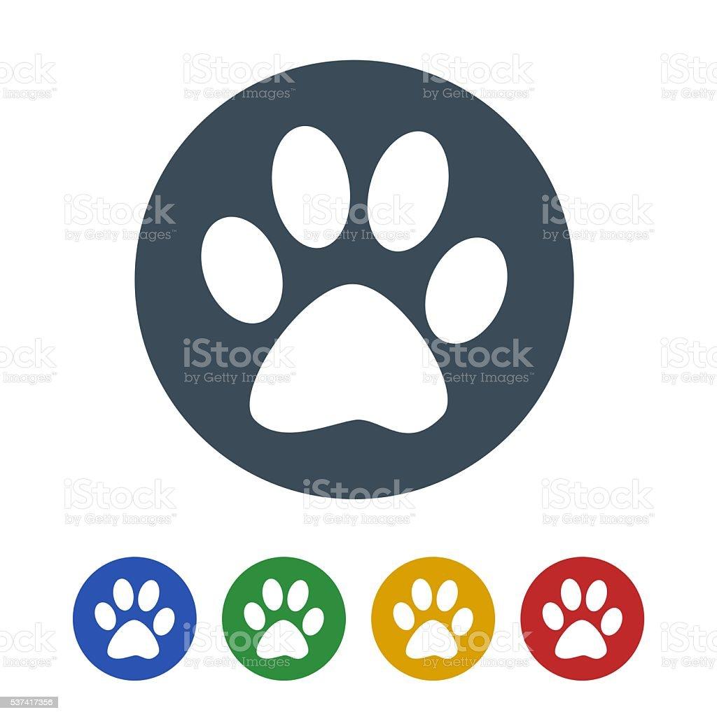 Dog foot print icon isolated on white background stock photo
