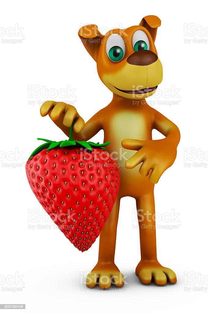 dog holding strawberries stock photo