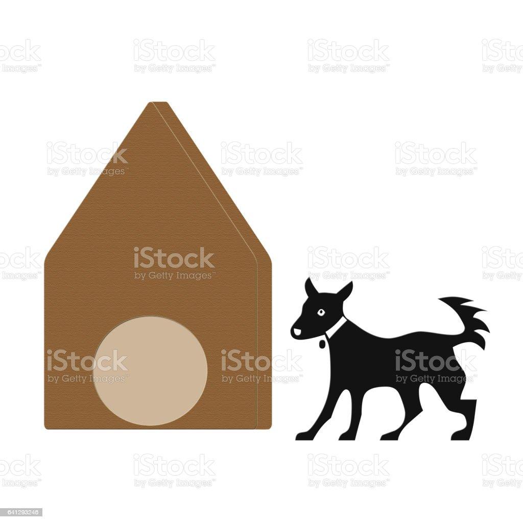 Dog house and dog stock photo