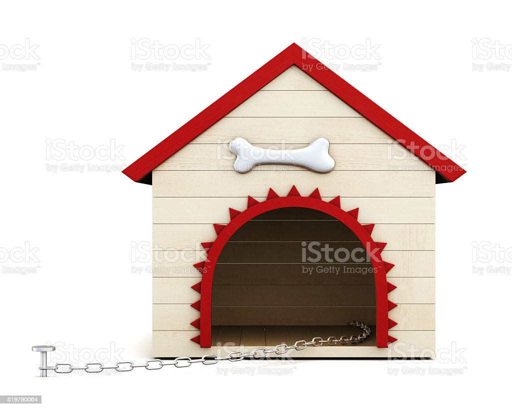Dog house with chain isolated on white background. 3d rendering stock photo