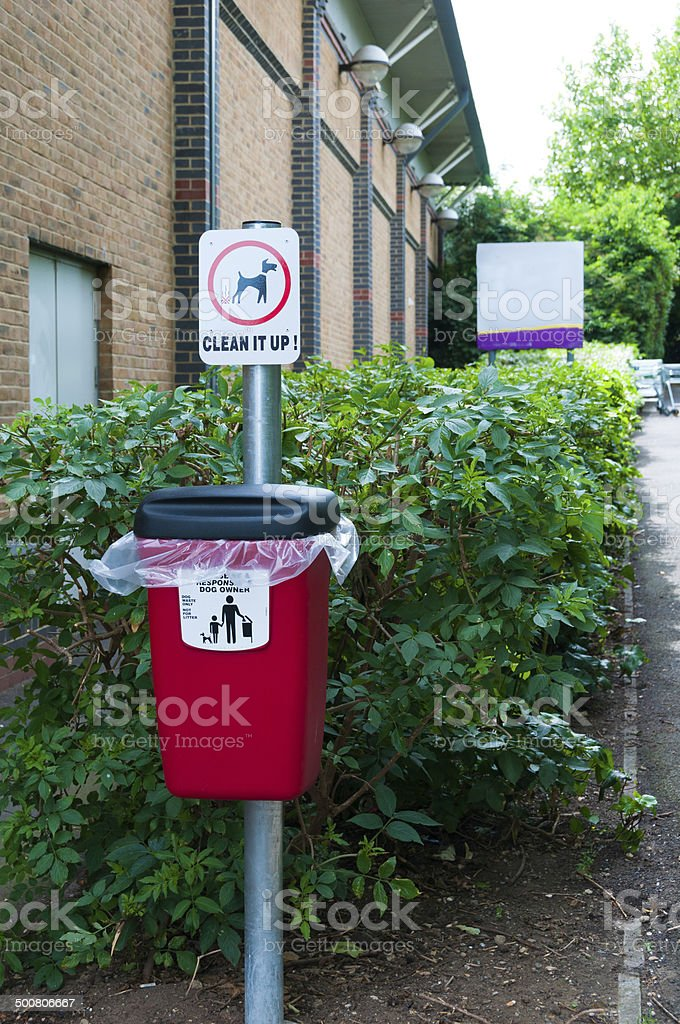 Dog litter bin for use in public areas stock photo