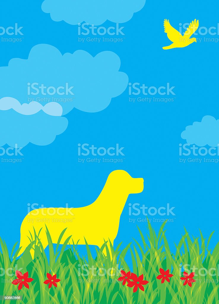 Dog looking up at bird in field royalty-free stock photo