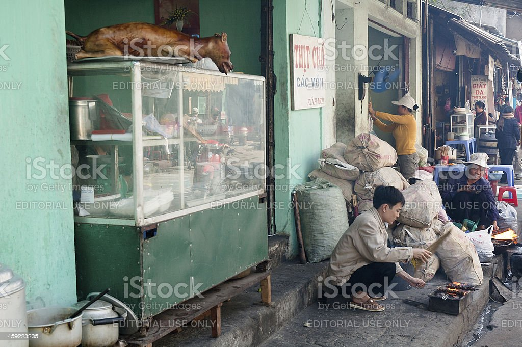 Dog Meat For Sale At A Street Cafe In Vientam royalty-free stock photo