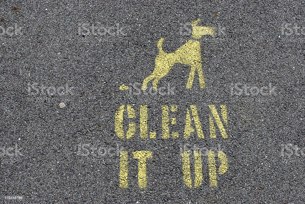 Dog Mess Clean it Up Pavement Marking royalty-free stock photo