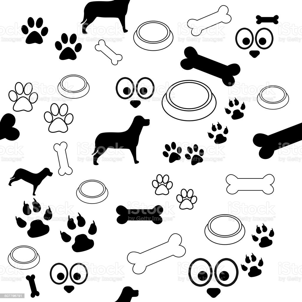 Dog Pattern Black and White stock photo