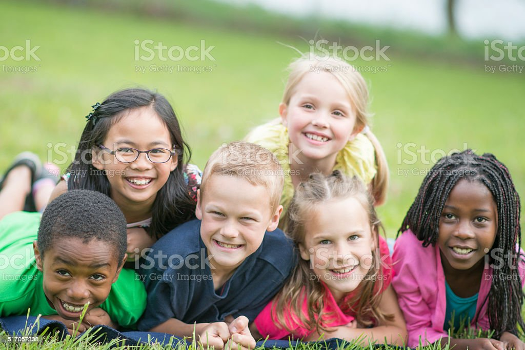 Dog Pile at the Park stock photo