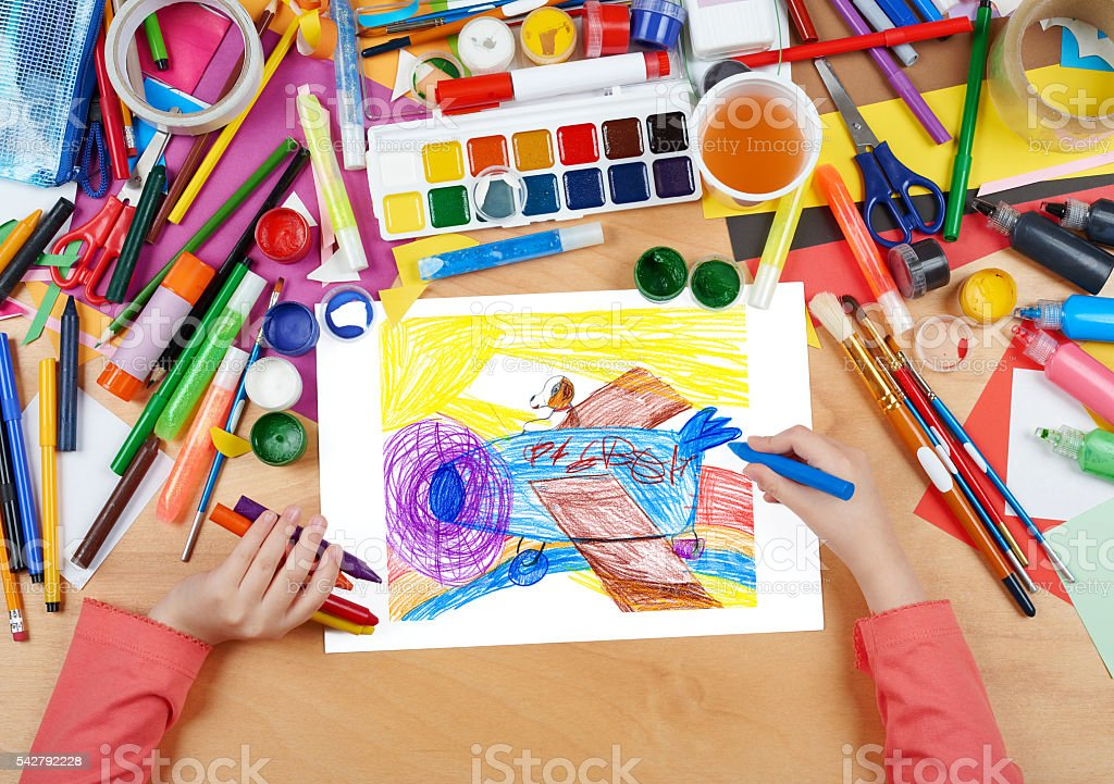 dog pilot flying a plane child drawing, artwork workplace stock photo