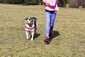 Dog Running with Child