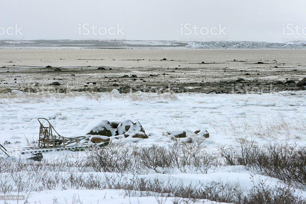 Dog sled and Churchill River, Manitoba Canada stock photo