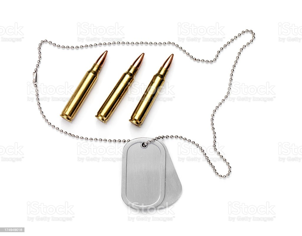 Dog tag U.S.A with bullets royalty-free stock photo