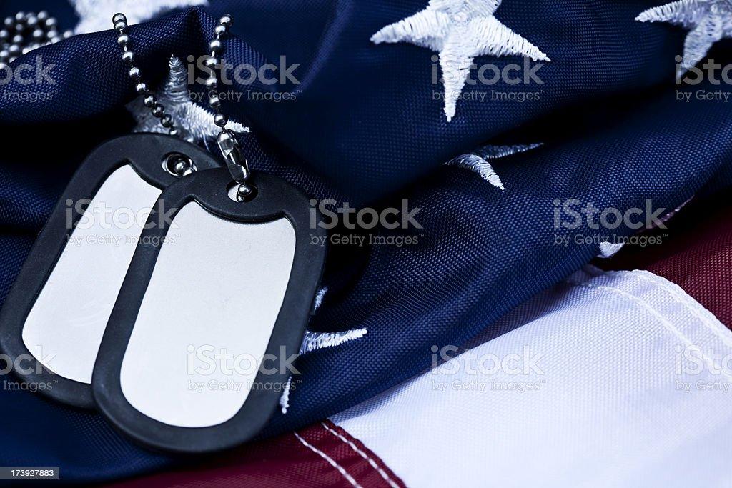 Dog Tags and Flag stock photo