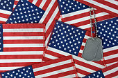 dog tags on American flag background