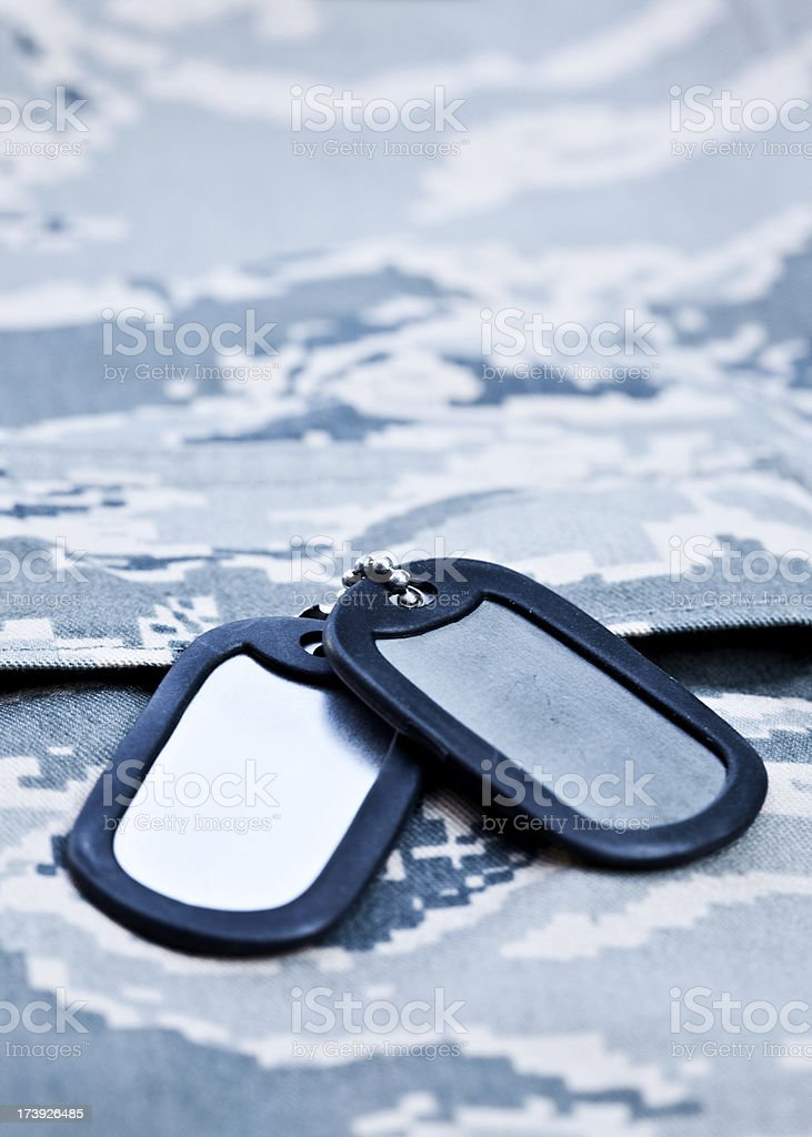 Dog Tags on Battle-dress royalty-free stock photo