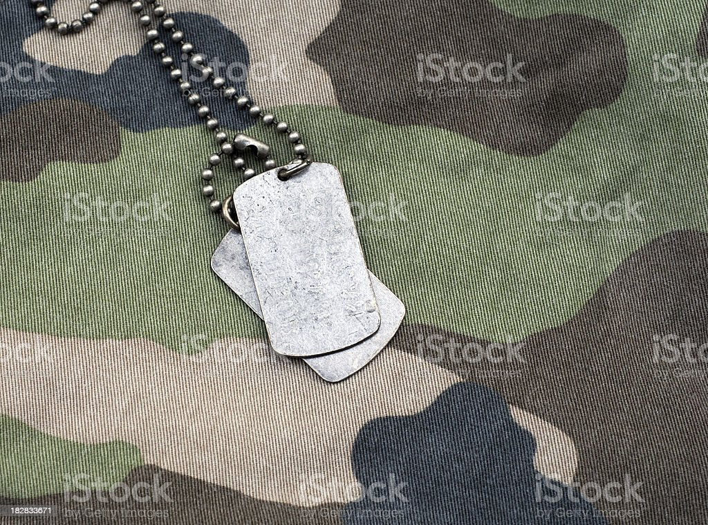 Dog Tags on Camouflage royalty-free stock photo