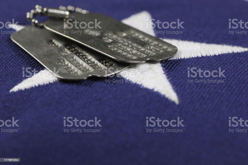 Dog Tags on flag stock photo