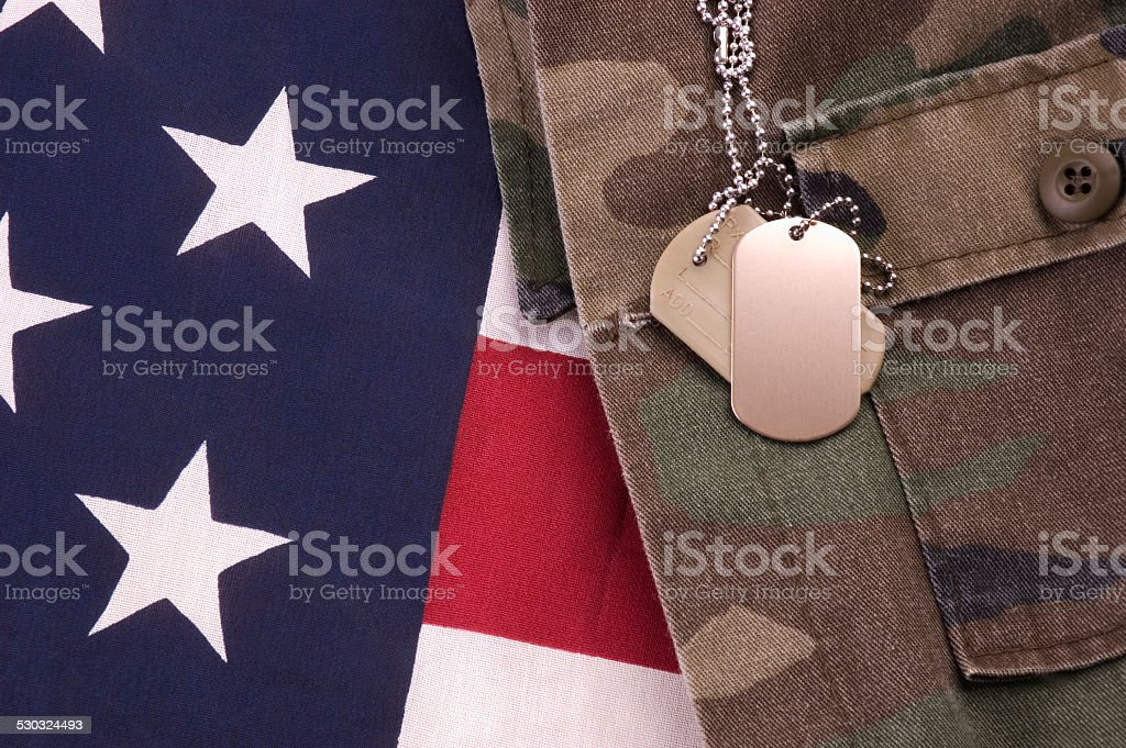 Dog Tags on Flag stock photo
