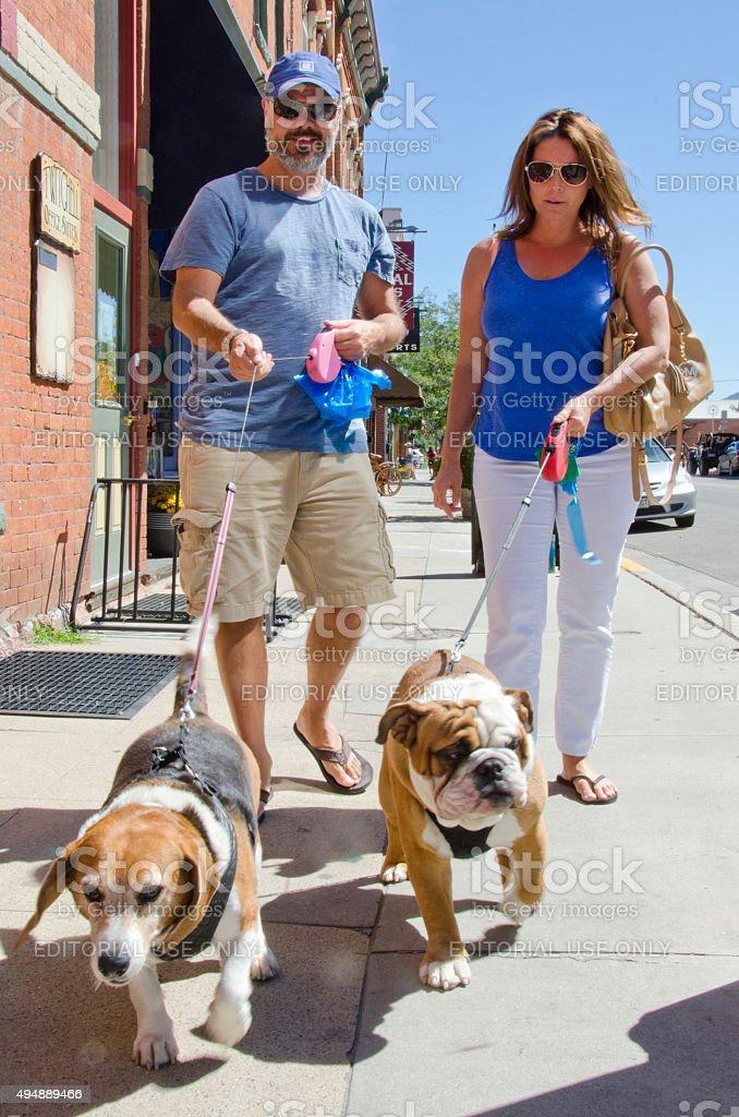 Dog Walking in Salida, Colorado stock photo