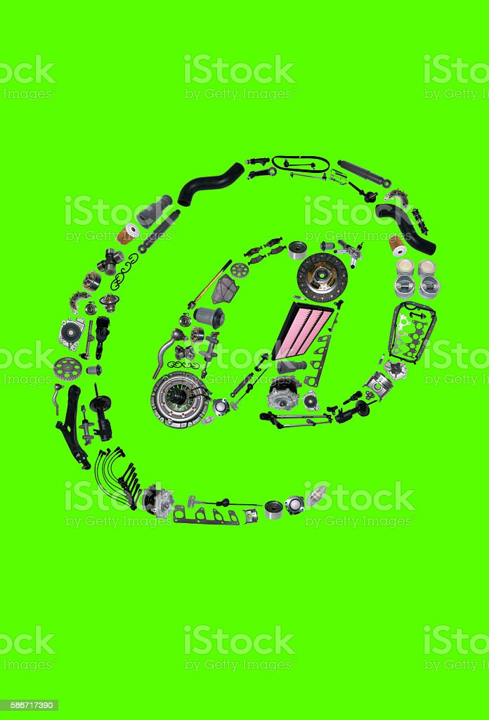 Dogbody or email icone with auto parts for car stock photo