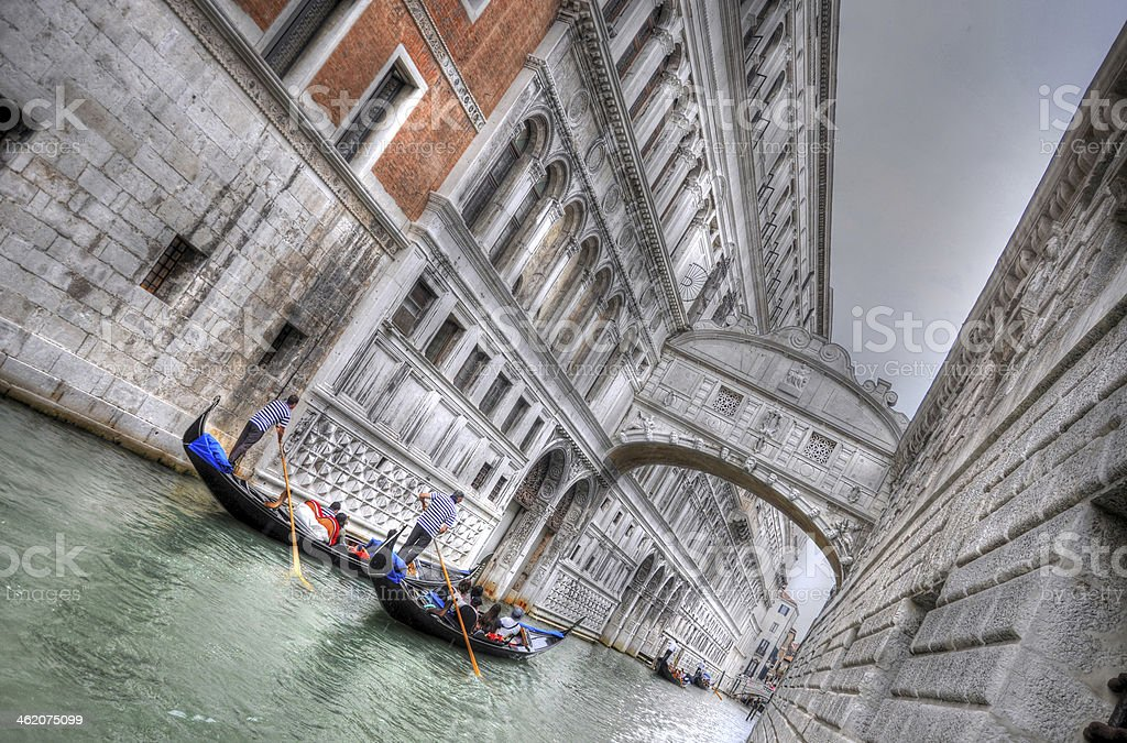 Doge's Palace and Canal with Gandolas, Venice, Italy (HDR) stock photo