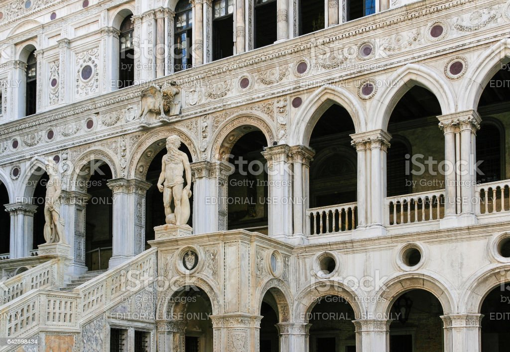 Doge's Palace and Giants' Staircase from Courtyard, Venice, Italy. stock photo