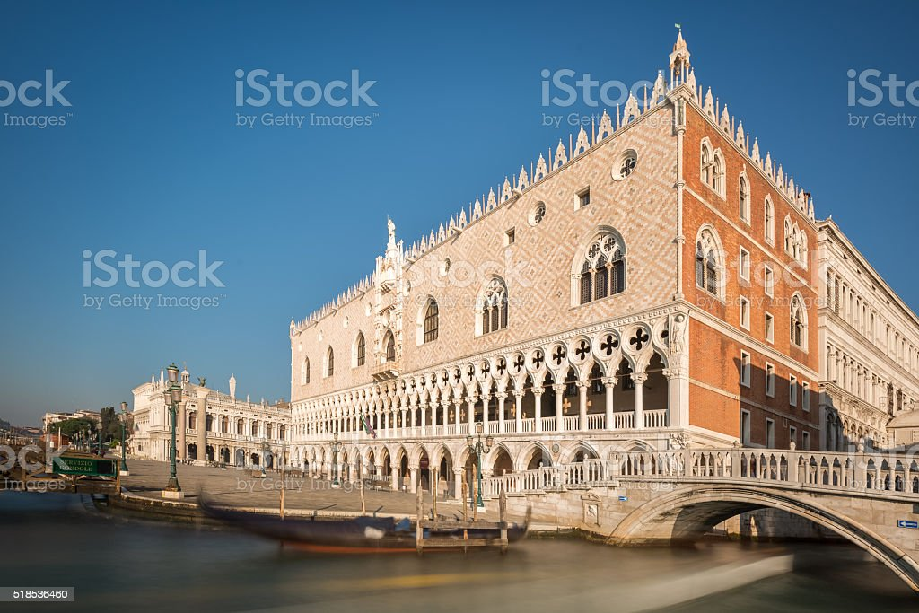 Doge's Palace and Gondola in Venice stock photo