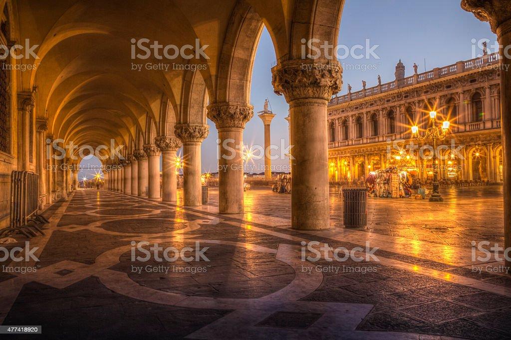 Doges Palace colums at dusk, Venice, Italy stock photo