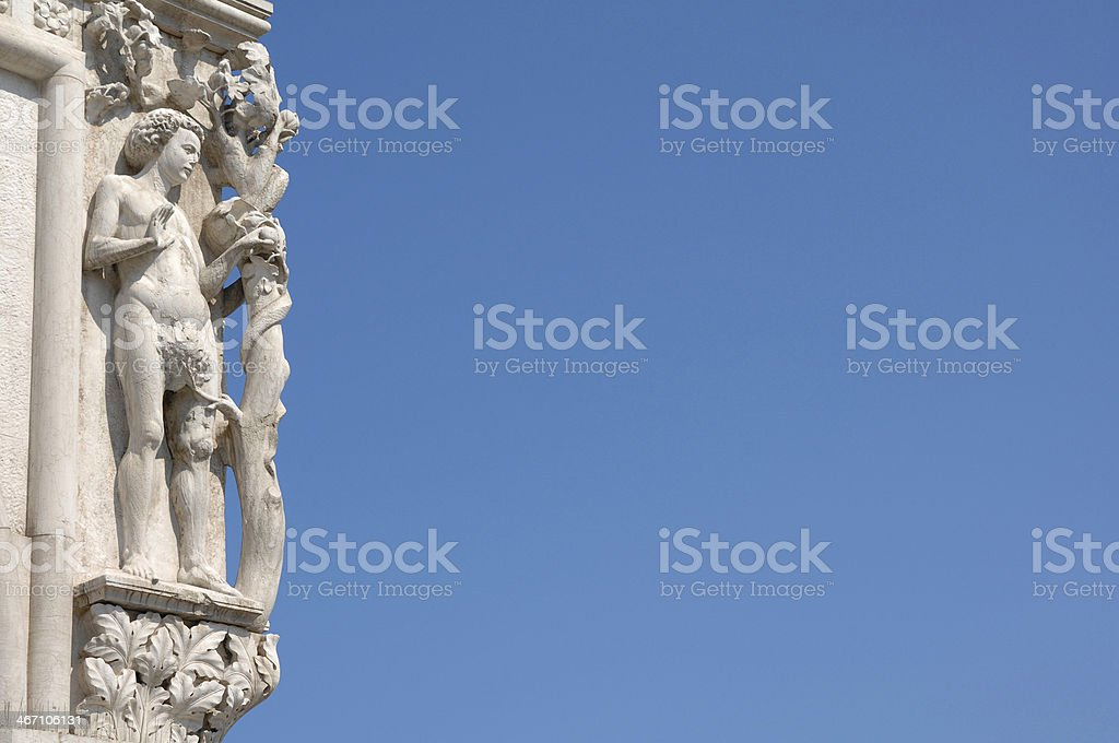 Doge's Palace, Palazzo Ducale, Statue detail, Italy, Venice stock photo