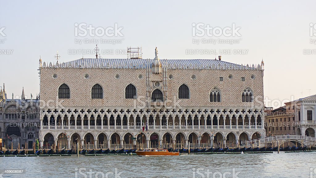 Doge's Palace seen from the water bus. Venice. Italy royalty-free stock photo