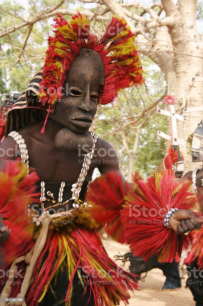 Dogon Dancer with Goiter Mask stock photo
