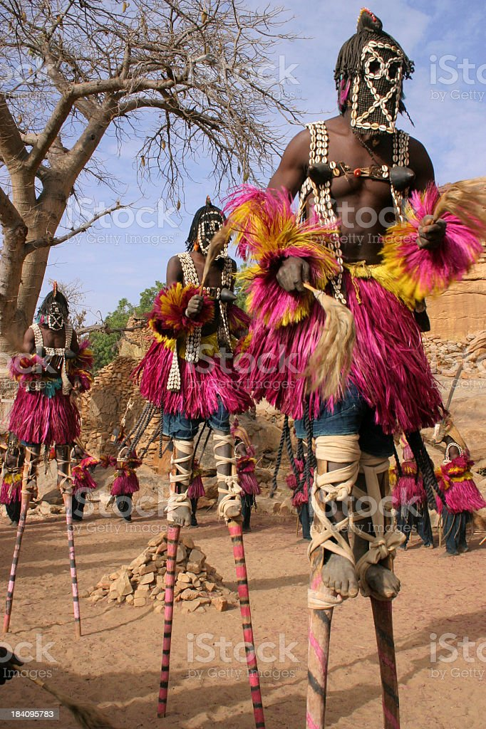 Dogon Dancers on Stilts stock photo