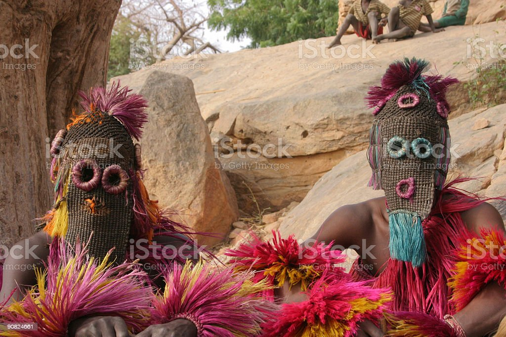 Dogon Dancers with Beaded Masks stock photo
