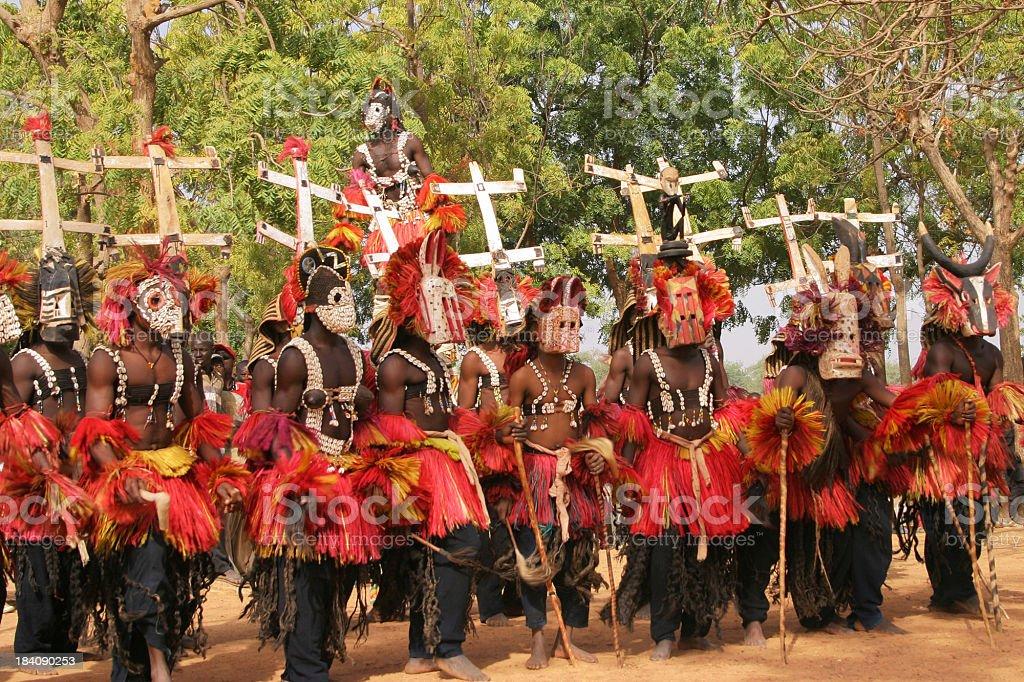 Dogon Dancers with Kanaga Masks stock photo