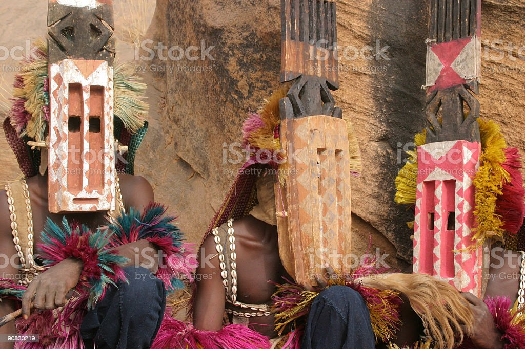 Dogon Masked Dancers stock photo