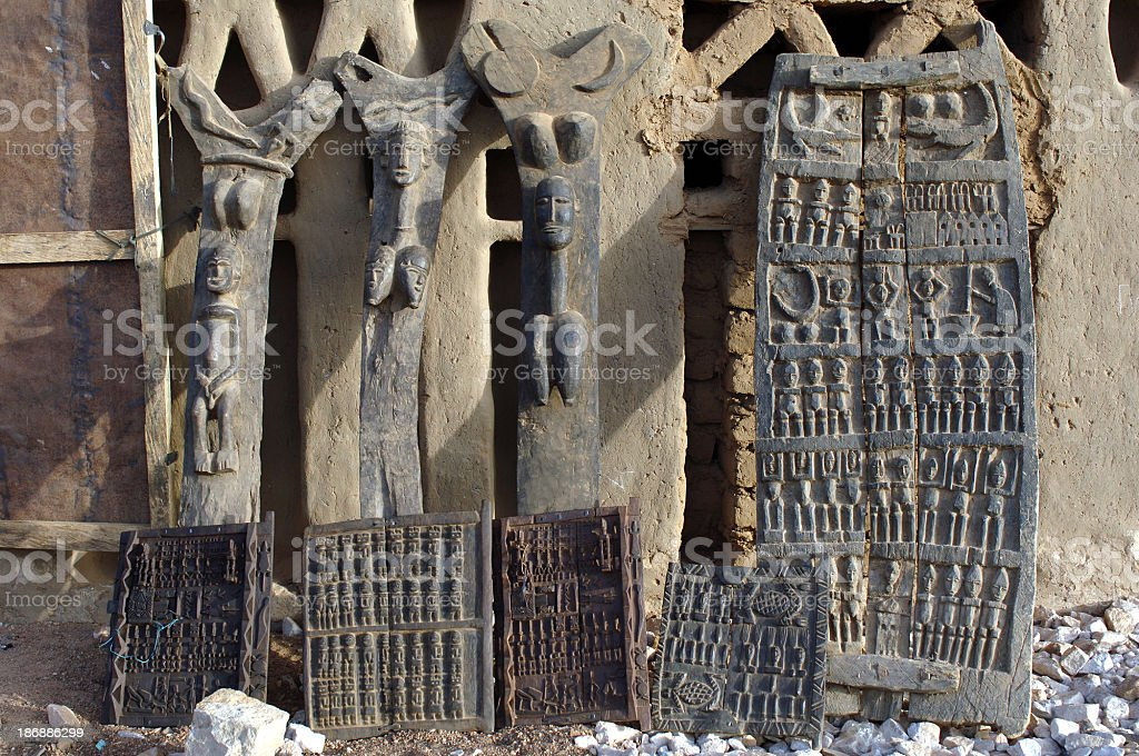 Dogon Tribal Carvings stock photo
