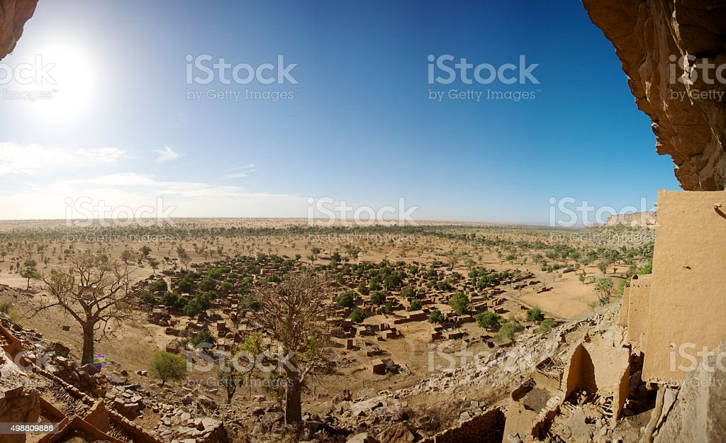 Dogon tribe village at the Bandiagara Escarpment stock photo