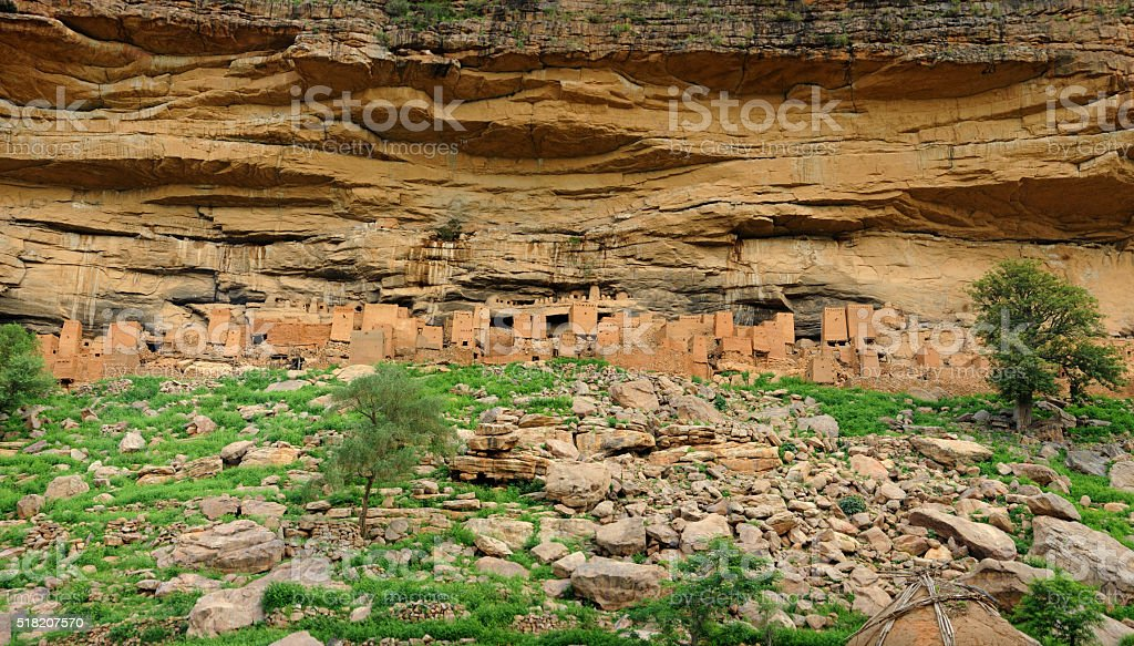 Dogon village ruins stock photo