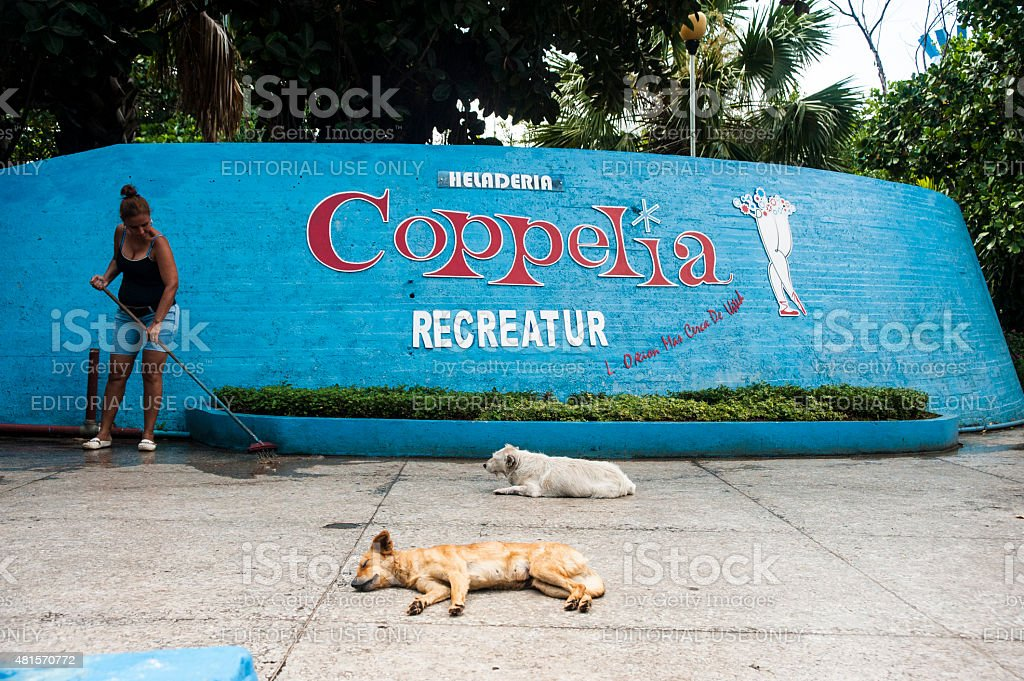Dogs lay outside Coppelia Ice Parlor in Havana, Cuba stock photo