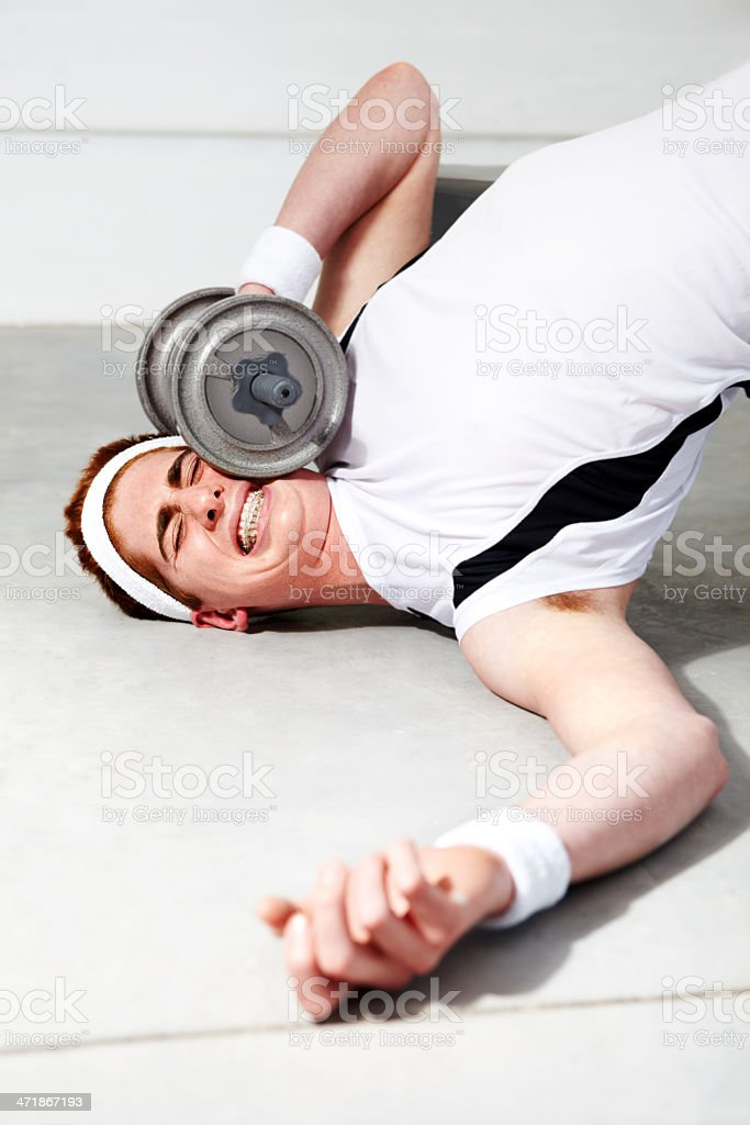 Doh! Should have eased into this workout! stock photo