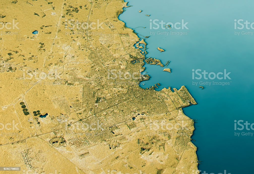 Doha 3D Landscape View South-North Natural Color stock photo