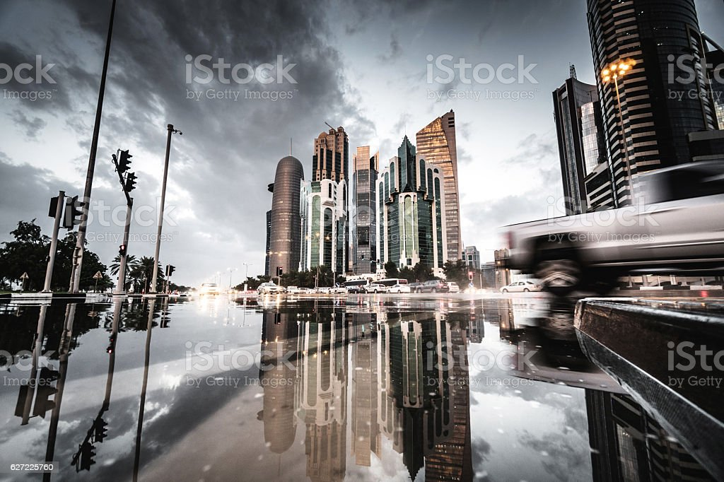 doha after the flood stock photo